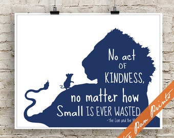 No Act of Kindness, no Matter How Small is Ever Wasted (B) - The Lion and the Mouse Inspired Art Print (Unframed) (Navy)