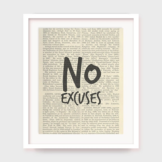 Motivational Art, Motivational Quote, No excuses Inspirational Quote Print, Fitness and Workout Motivation Printable Wall Decor, Typography