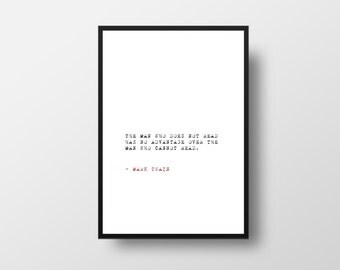 Mark Twain, Reading Quote, Inspirational Quote, Literary Art, Minimalistic Poster, Typographic Print, Book quotes, Typography poster