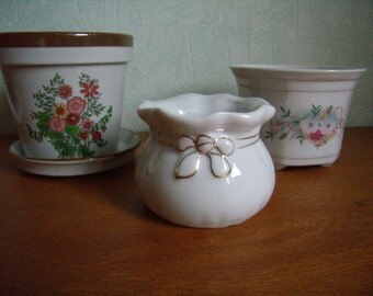 3 jars of flowers ceramic / porcelain / faience, french vintage