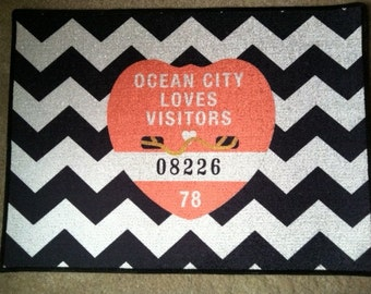 Ocean City Beach Badge Doormat