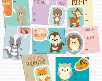Printable Woodland Animal Valentine Cards - Instant Download
