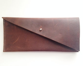 Minimalist Leather Clutch Wallet, Hand-Stitched