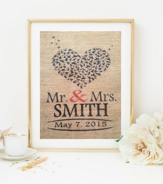 Personalised Wedding Gift Heart : Heart Wedding Gift -Custom Burlap, Wedding, Anniversary Gift, Wedding ...