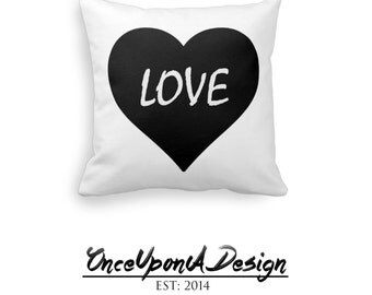 Lovely Black Heart Love Pillow Decorative Throw Pillow, Love Home Decor, Livingroom Throw Pillow, Bedroom Decorative Pillow