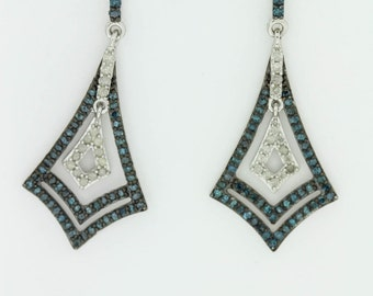 925  1 ct Blue & White Diamond Earrings .