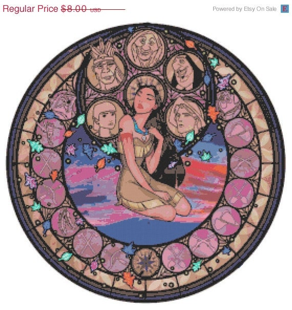 "ON SALE Counted Cross Stitch Patterns - Pocahontas stained glass - 19.14"" x 19.21"" - L773"