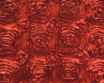 """Rosette Satin Fabric RED / 54"""" Wide / Sold by the yard"""