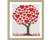 Love Tree Cross Stitch Pattern,PDF counted cross stitch, love, tree, red, cross stitch chart, modern