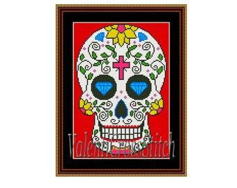 Cross Stitch Pattern Sugar Skull, skull patterns, cross stitch patterns, Modern Pattern, Counted Cross Stitch