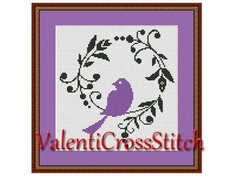 Purple BIRD Cross Stitch Pattern, Modern cross stitch,counted cross stitch pattern,Birds Pattern, cross stitch bird