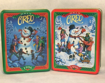 LOT OF 2 1996 Oreo Cookie Collector Tins, Only Oreo, 'Snowy Day' and 'The Snowman Game'