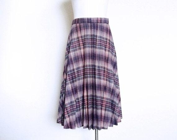 items similar to wool pleated purple plaid skirt 70s