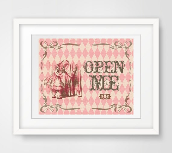 Gift table sign alice in wonderland printable open by for Table 6 gift card