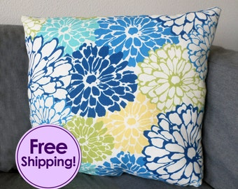 Floral Flower Canvas Throw Pillow Blue Green Yellow FREE SHIPPING!