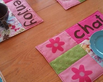 "Fun Quilted Place Mats, ""Chat"", ""Drink"", Enjoy"" Place Mats, Quilted Place Mats - SET OF 3"