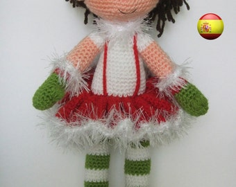 patrón de navidad muñeca