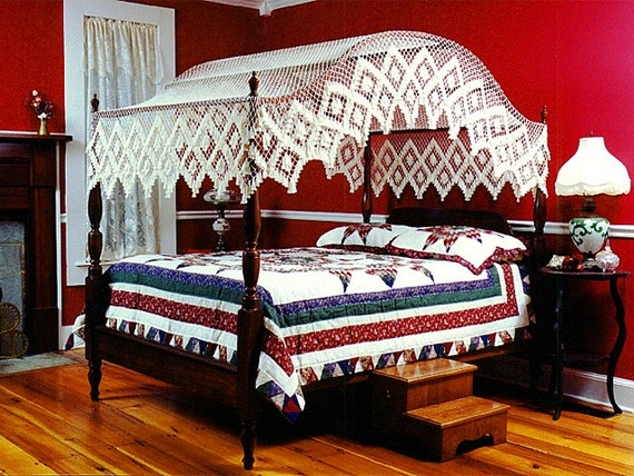 Full Size Double Diamond Arch Bow Or Flat Handmade Canopy Bed