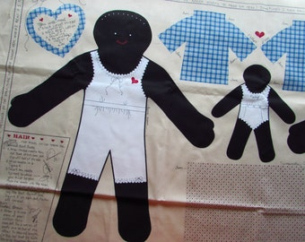 Charming Folk Art Black Doll Panel - Makes One Large Doll and One Small Doll