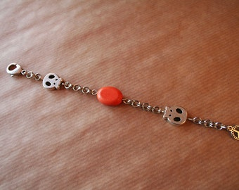 Orange Skull Bracelet