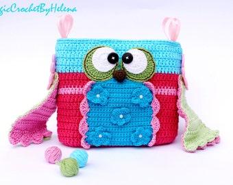 Crochet Owl Purse! Crochet Owl Bag! Children's Crochet Purse! Crochet Clutch! Small Purse!