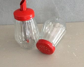 Sugar and shaker vintage glass