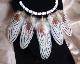 Exotic Pheasant Feather Necklace on Beaded Brass Wire