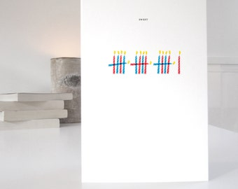 16th Birthday Card, Sweet 16, minimalist design with 16 candles, matching wrapping paper available