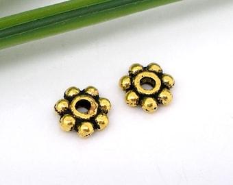 400 PCs Gold Tone Tiny Daisy Spacers Beads 5mm