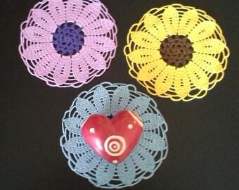 Crochet Flower Doilies set of 3,Crochet Doilies,Crochet Home Decoration,Colorful Crochet Doilies