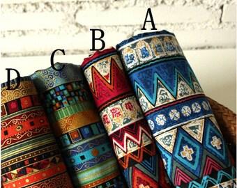 Bohemian style  Stripe Cotton Fabric cotton Bag fabric cloth fabric Purse fashion Fabric curtain fabric- 1/2 Yard