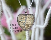Kelowna BC heart shape vintage map necklace. Romantic gift pendant. Free matching chain is included.