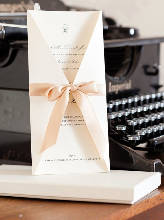 Boxed Satin Bow Wedding Invitations Wedding Invites Boxed