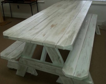 Picnic Tables (Distressed Finish) Custom made to order 2x6 pressure treated wood !