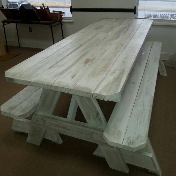 Picnic Tables Distressed Finish Custom Made To Order 2x6