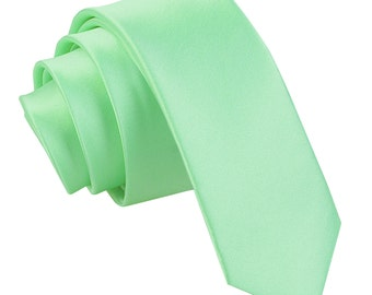 Satin Mint Green Skinny Tie
