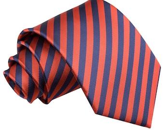 Thin Stripe Navy Blue & Red Tie