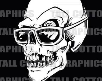 Cool Shades Skull Vinyl Decal #SKL114