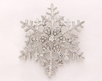 Silver Snowflake Brooch Winter Wedding Embellishment Bouquet Snowflake Brooches Boutonniere Necklace DIY Jewelry Crystal Snowflake Broach