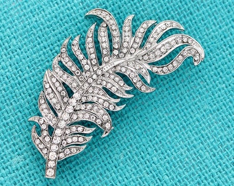 Rhinestone Feather Brooch, Silver Crystal Brooches for Bouquet, Bridal Sash Brooch, Feather Brooches, Diamante Rhinestone Silver Brooche