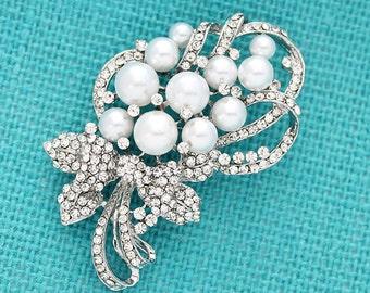 Rhinestone Pearl Brooch, Crystal Pearl Bridal Brooch, Diamante Wedding Brooch, Crystal Silver Broaches, Pearl Brooches for Bouquet