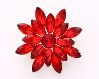 Rhinestone Red Brooch Wedding Bridal Bridesmaid Red Brooches Dress Sash Cake Boutonniere DIY Jewelry Crystal Red Broaches