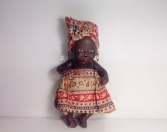 Vintage Earthenware Native African Doll. Clay/Pottery Native African Doll.