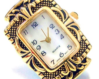 New Watch Face_  Antique Glod Frame With Swirl Crafts Case