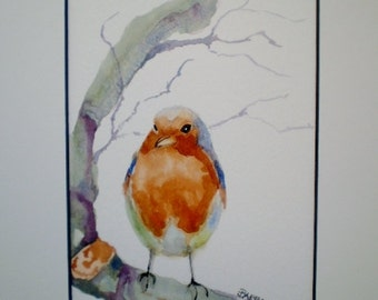 Robin painting, robin watercolor, original  watercolor,  white  mat included.