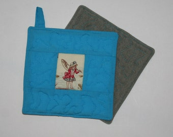 Pair of Potholders: 1920s Swimming Decor  Includes shipping