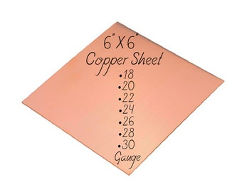 "Copper Sheet 6"" x 6"" 18-20-22-24-26-28-30 Gauge Metal For Etching Punching Hammering Cutting Stamping Blanks Pendants Charms Jewelry Making"