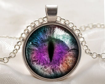 Purple Dragons Eye Necklace - Fantasy Purple  Eye Pendant - Picture Jewelry Gifts for Women