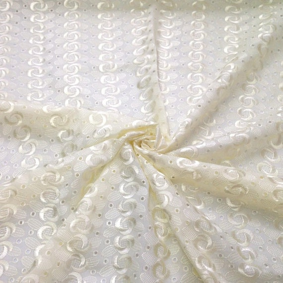 Off white eyelet spiral embroidery fabric