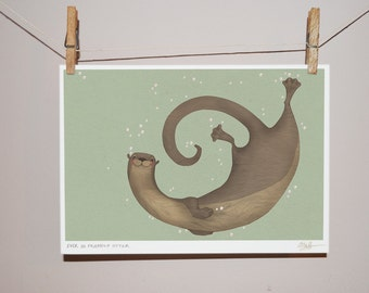 Ever So Friendly Otter Children's Illustration Print